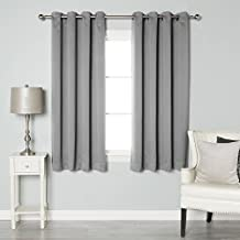 "Best Home Fashion Thermal Insulated Blackout Curtains - Antique Bronze Grommet Top - Grey - 52""W X 63""L - Tie backs included (Set of 2 Panels)"
