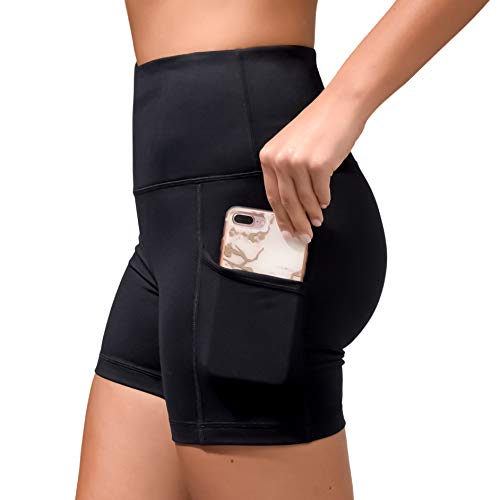Velocity High Waist Athletic Yoga Shorts with Side Pockets - Black - Large (Lounge Velocity)