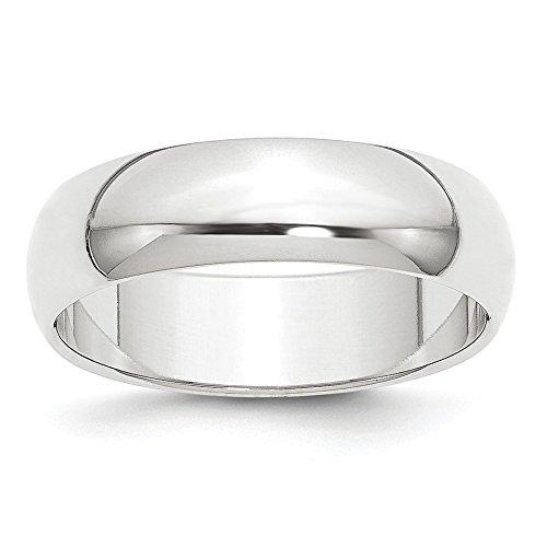 Platinum 6mm Half-Round Wedding Band Size 7.5
