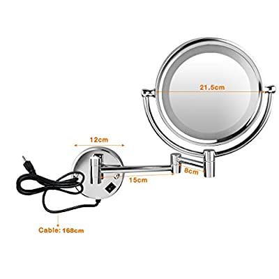 Floureon Lighted Makeup Mirror Double Sided LED Light 8.5 inches Wall mounted Cosmetic Shaving Mirror