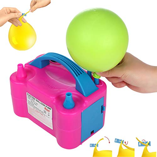 🥇 Party Zealot Electric Balloon Inflator with 100 Balloon Ties Air Pump Dual Nozzles Balloons Blower US Standard Plug for Balloon Arch