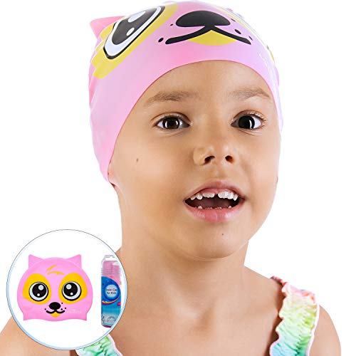 AqtivAqua Silicone Swimming Cap for Boys and Girls (Ages 2-9) + Storage Tube by Comfortable and Easy to Use Protective Swim Cap for Kids (Pink Color)