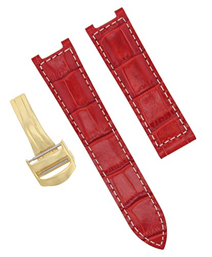 20MM LEATHER STRAP BAND DEPLOYMENT CLASP FOR PASHA DE CARTIER RED WS GOLD #2PC