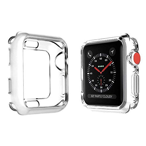 Price comparison product image Case for Apple Watch Series 4,Soft Slim TPU Shockproof Screen Protector Cover for iWatch 4 44mm/40mm (Apple Watch Series 4 44mm, Transparent)