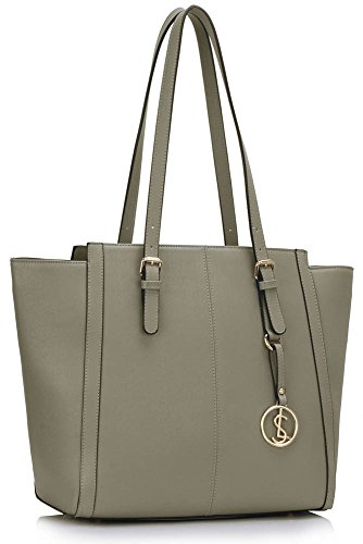 Shoulder grey Designer Faux Over Women's Ladies Tote Shopper Cws00464 Sized Handbags Leather cws00464 Bags Bag x6qw8nnS4U