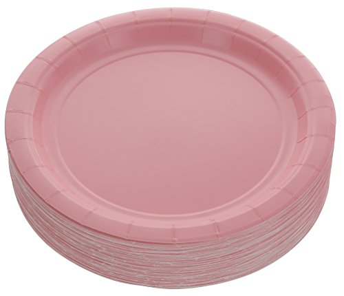 Amcrate Pink Disposable Party Paper Dessert Plates 7