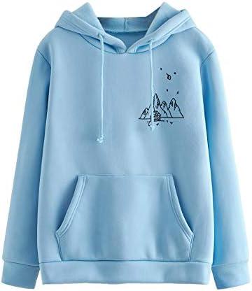 SweatyRocks Women's Sweatshirt Pullover Fleece Drop Shoulder Graphic Print Hoodie with Pocket