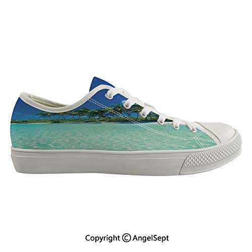 Durable Anti-Slip Sole Washable Canvas Shoes 16.14inch Image of a Sunny Day in a Tropical Island with Palm Trees and Ocean Heaven Calm Lands,Turquoise Green Flexible and Soft Nice Gift