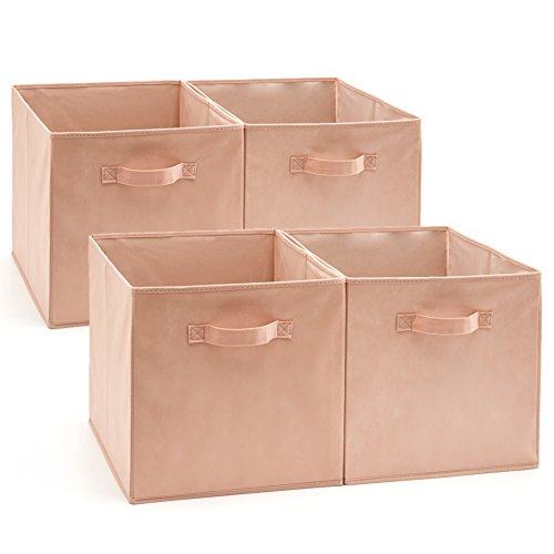 (EZOWare Set of 4 Foldable Fabric Basket Bin, Collapsible Storage Cube Boxes for Nursery Toys (13 x 15 x 13 inches) (Pink))