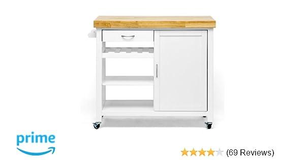 Baxton Studio Denver Modern Kitchen Cart/Island with Butcher Block Top,  Natural, White