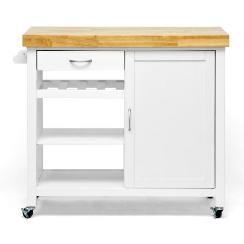 Baxton Studio Denver Modern Kitchen Cart/Island with Butcher Block Top, Natural, White (Best Slow Cooker Brand Malaysia)