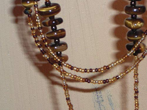 Tiger's Eye Beaded Eyeglass Chain Handmade Amber Mix 28 inches Fancy Ends NEW (Print Animal Necklace Beaded)