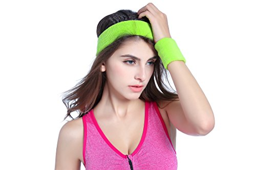 Kimberly's Knit Women 80s Neon Pink Running Headband Wristbands Leg Warmers Set