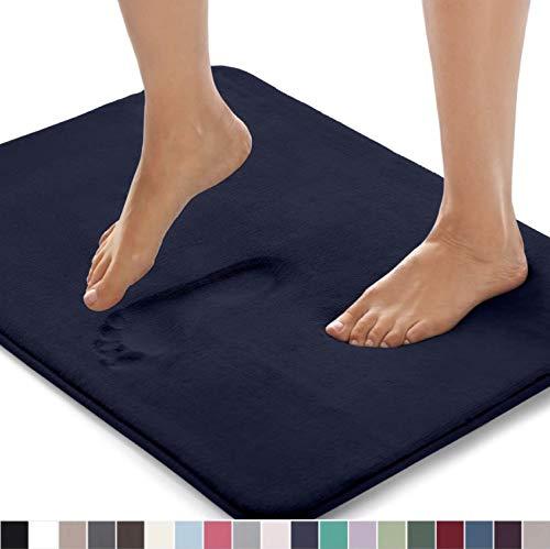 Gorilla Grip Original Thick Memory Foam Bath Rug, 24x17, Cushioned, Soft Floor Mats, Absorbent Premium Bathroom Mat Rugs, Machine Washable, Luxury Plush Comfortable Carpet for Bath Room, Navy Blue