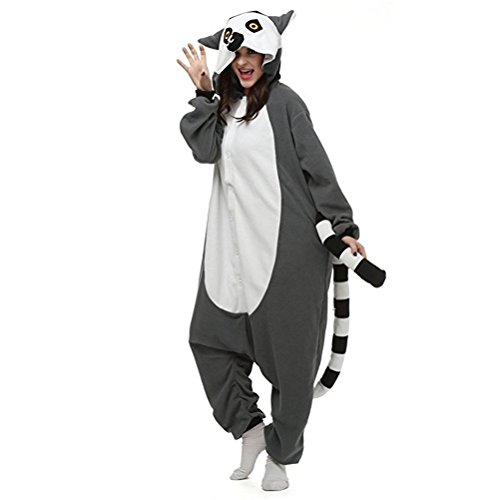 Women Men Ring-tailed Fox Unisex Adult Animal Sleep Suit Cosplay Kigurumi Costume Pajamas Outfit Costume Nightclothes Onesies Clothing Pajamas Tracksuit (Halloween Costume Winners)