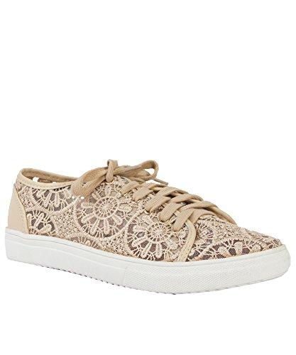 Women's Floral Lace Lace Up Low Top Sneaker BEIGE LACE (8)