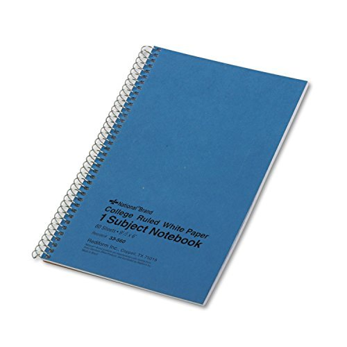 - National 33560 Subject Wirebound Notebook College Rule 6 x 9 1/2 White 80 Sheets