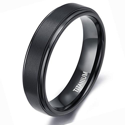 Center Titanium Wedding Band - TIGRADE Men's Black 6mm Titanium Wedding Rings Matte Finish Center Polish Edge Band(8)