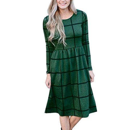 Casual Long Lattice Spring Green Sleeve Dress Plaid Womens Loose 5qpRngq