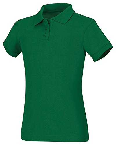 Classroom School Uniforms Junior Girls Short Sleeve Fitted Interlock Polo, Kelly Green, Large