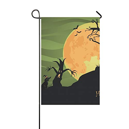 Jnseff Home Decorative Outdoor Double Sided Creepy Halloween Trees Cat Jpg Garden Flag,House Yard Flag,Garden Yard Decorations,Seasonal Welcome Outdoor Flag 12 X 18 Inch Spring Summer -