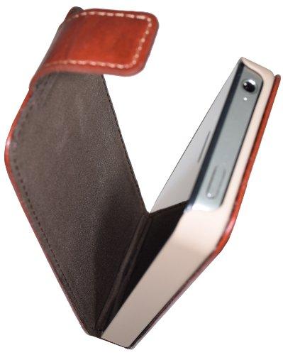 Suncase Flip-Style Tasche für Apple iPhone 4S / 4, Wash-Braun