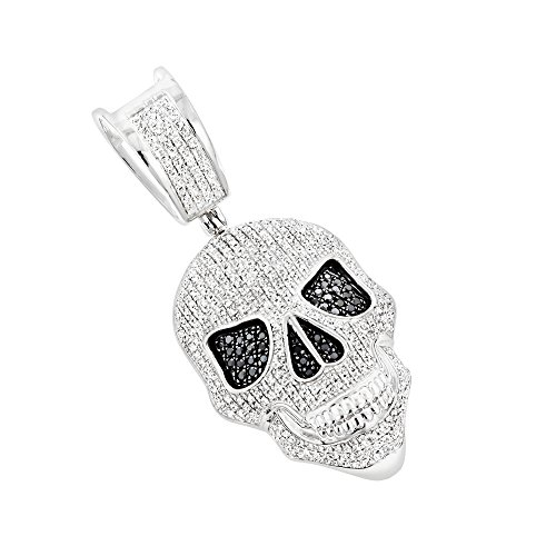 18k White Gold Pave Diamond Pendant (10K Gold White and Black Diamond Iced Out Skull Pendant 0.8ctw (White Gold))