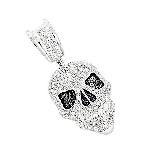 10K Gold White and Black Diamond Iced Out Skull Pendant 0.8ctw (White Gold) ()