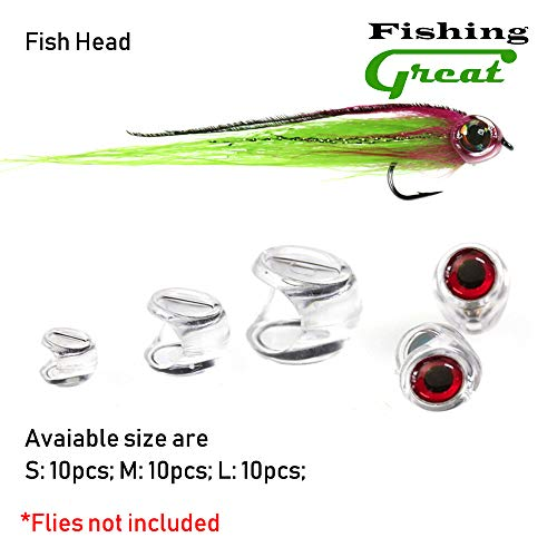 Greatfishing 30PCS Fly Tying Fish Head for Streamer Flies with Eyes Fly Fishing Bait Lure Making Material