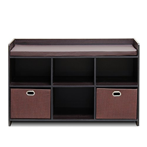 Furinno 13138EX/EX/BR Economical Storage Bench with Comfy Cushion, Espresso/Brown, Solid by Furinno