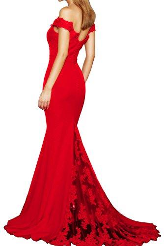 Ausschnitt Abendkleid Kragen Festkleid Rot gerade Ballkleid Applikation Tuell Ivydressing Elegant Partykleid Meerjungfrau Spitze V Schleppe fxRYnSwI