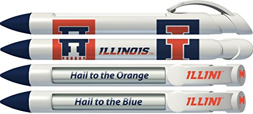 University of Illinois Fighting Illini Rotating Message Pens - 4 pack (8033) Officially Licensed Collegiate Product