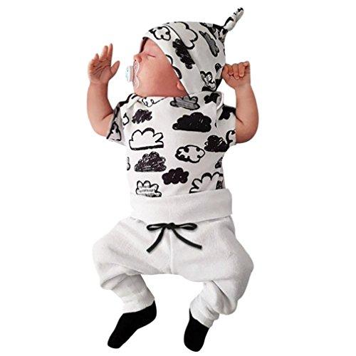 FEITONG Newborn Infant Baby Boy's Print Romper Tops+Long Pants +Hat ... (0-3 Months, White-Cloud #1)