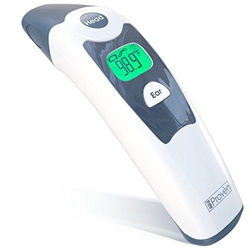 Stirn Thermometer mit Ohr Thermometer Funktion und Dual Mode - iProvèn DMT-116A - Genehmigt von CE. Neuartige Technik. Unübertroffene Leistung. Für Babys, Kinder und Erwachsene. Gut für ältere Menschen - Hintergrundbeleuchtung und großen Bildschirm