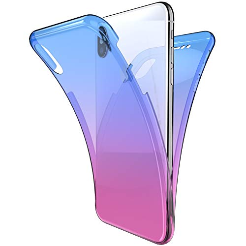 iPhone XR Case,ikasus [Full-Body 360 Coverage Protective] Gradient Color Ultra-Slim Scratch-Resistant Front + Back Full Coverage Soft Clear TPU Silicone Rubber Case for iPhone XR,Blue Purple