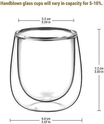 Glastal Taza de Cristal café expreso, Transparente, 120ML, Juego ...
