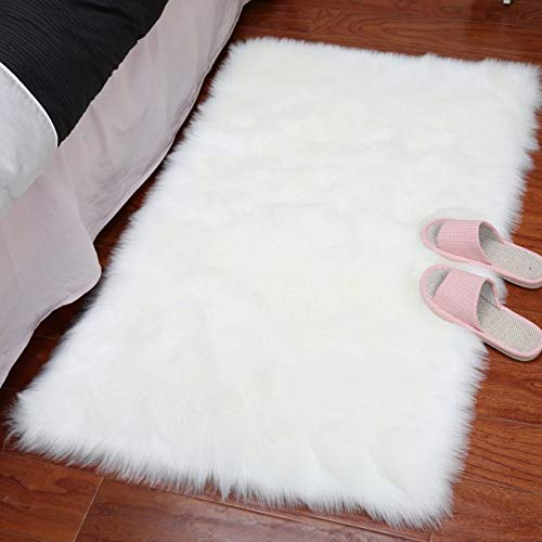 (LOCHAS Ultra Soft Silky Fluffy Rugs Shag Faux Sheepskin Area Rug, Bedside Rugs for Bedroom Living Room Carpet Nursery Floor Mats, 2x3 ft, White)