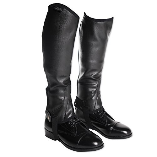 Boot Equestrian Style (Saxon Equileather Childs Half Chaps L Black)