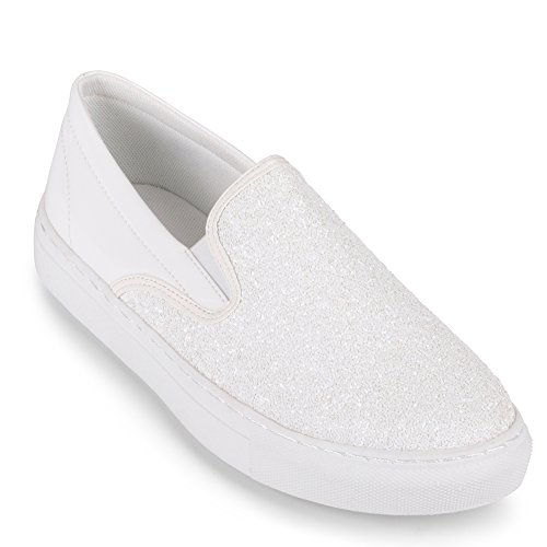 """Wanted Spangle"""" Slip-On Sneaker with Glitter Detail - (Wh..."""