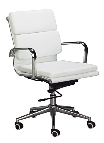 Medium Back Chair (Eames Replica Medium Back Office Chair - WHITE Vegan Leather, thick high density foam, stabilizing bar swivel & deluxe tilting mechanism)