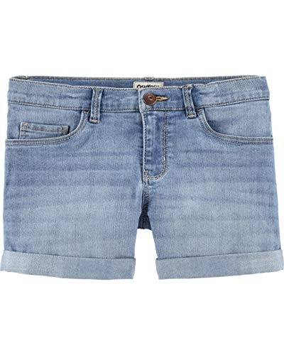Osh Kosh Girls' Little Denim Shorts, Sky Blue Wash, 7 - Oshkosh B Gosh Children's Clothing