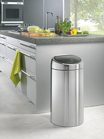 Brabantia Touch Bin - Cubo de Basura, 45 litros, Cubo Interior de plástico extraíble, Acero Mate Anti-Huellas