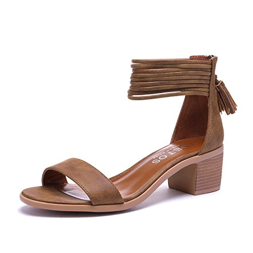 TOETOS Women's Ivy_01 Tan Fashion Block Heeled Sandals Size 9.5 B(M) US (Heel Leather Sandal)