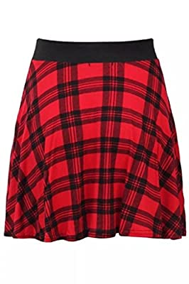 RM Fashions Women's Red Tartan Black Stretch Waist Skater Flared Skirt (Small-Large)