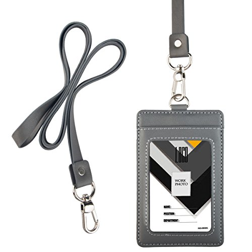 Indressme 2-Sided Vertical Genuine Leather ID Badge Holder with Lanyard (grey)
