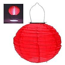 RioRand 1pcs 30CM waterproof solar lantern Solar outdoor hanging lights LED holiday lights hanging lantern Chinese celebration - Red