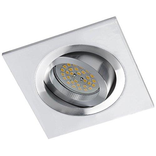 Wonderlamp Classic W-E000005 - Foco empotrable cuadrado para techo, incluye portalámparas GU10. Ojo de buey basculante 30º. 9 x 9 x 2,5 cm, color blanco y ...