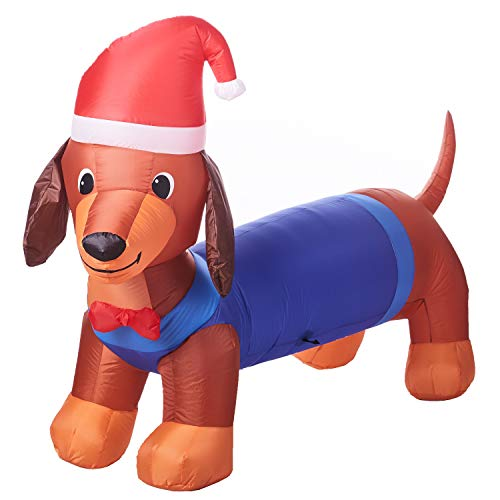 Christmas Inflatable 7' Dachshund with Santa Hat Airblown Decoration by Gemmy