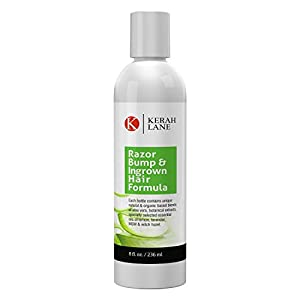 Kerah Lane Organic Razor Bump & Ingrown Hair Formula 8 Oz for Women & Men: Best Treatment Serum for Ingrown Hairs, Acne, Razor Bumps, Razor Burn: Use After Shaving, Waxing, Electrolysis & Hair Removal