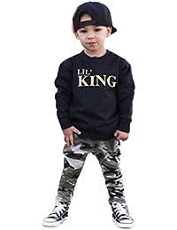 Kids Outfits,Laimeng Toddler Baby Boy 2PCs Letter T shirt Tops +Camouflage Pants Clothes Set (2T, Black)